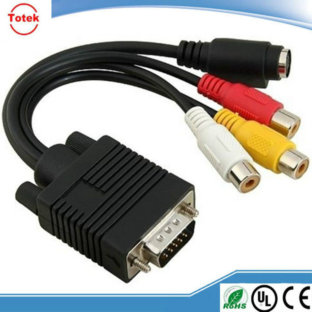 vga 15pin to 4pin S-video 3 rca cable