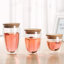 Haonai 240ml 360ml 450ml double wall borosilicate glass cup glass tea cup with wooden seal lid
