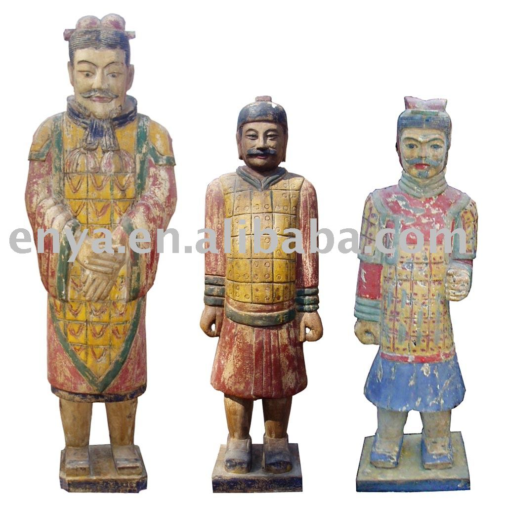 Warrior Wood Statue/sculpture, Carved Wooden Handicraft, Home Decoration