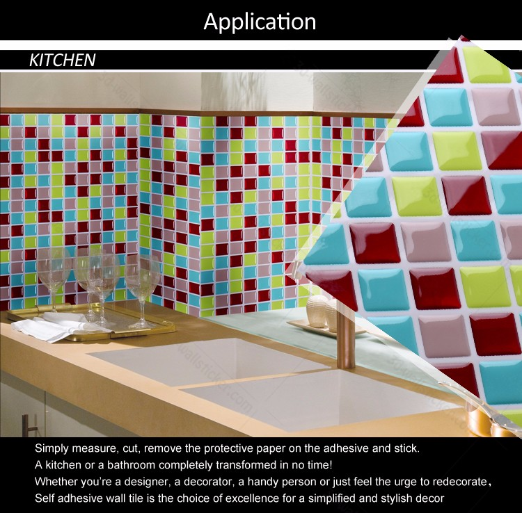 self adhesive backsplash faux ceramic mosaic wall tiles for RV/bathroom/kitchen