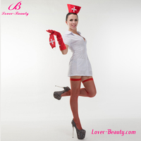 White short dress sexy hot nude nurse doctor costume with red hat