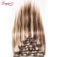 Multi-Colored Fake Hair Extensions Remy Human Hair Clip In Extensions