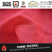 100 polyester fire retardant red curtain voile fabric