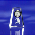 Trapezoid modern 3d crystal clock, customized logo