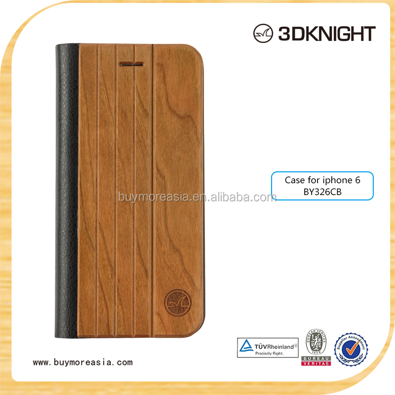 HOT wooden products leather case skin flip cover wood case pouch wallet for iphone 6