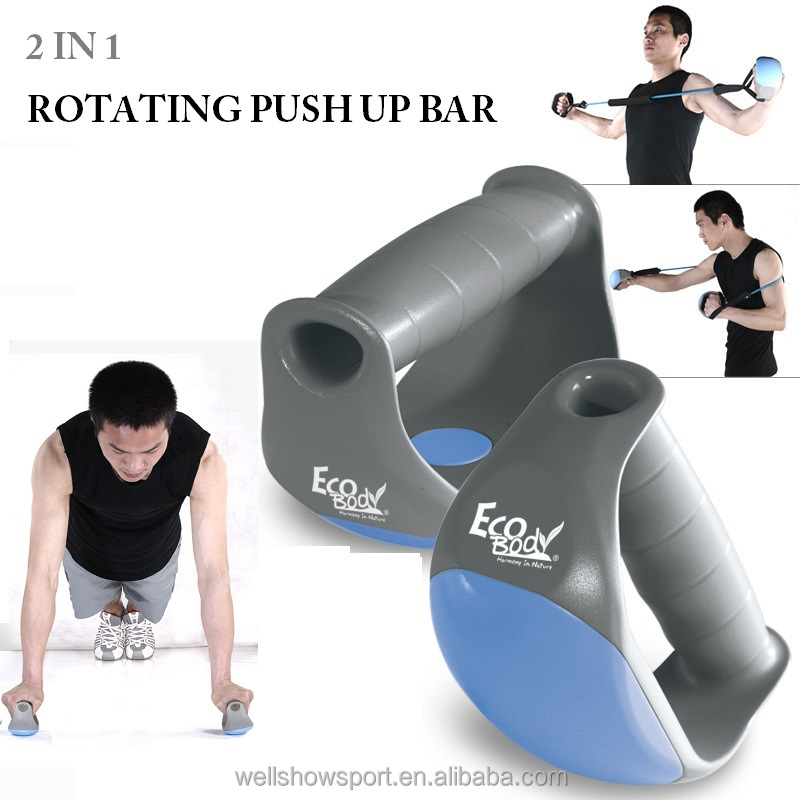 Wellshow Sport 2 In 1Rotating Push up Bars Push Up Stands Non Slip Pushup Bar Design Wide Grips for Max Comfort