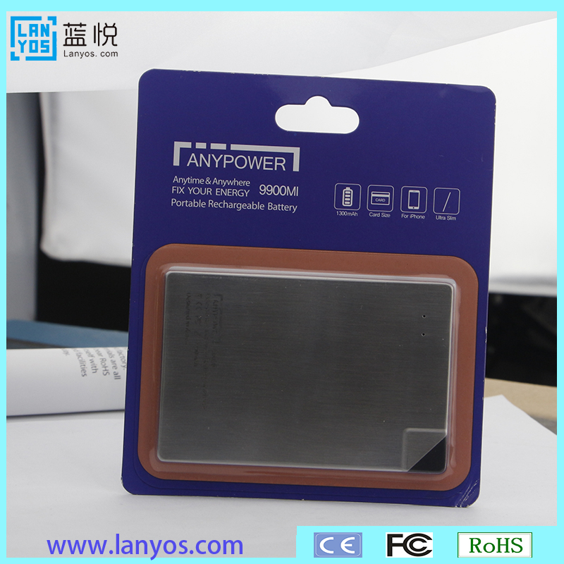 OEM Printing Logo ultra slim credit card 1300mAh power bank 4mm thickness with build in cable