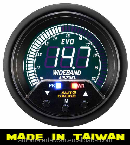 60mm 4 colors LCD Air/fuel ratio gauge with warning and peak - include Bosch 4.9 O2 sensor
