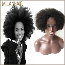 Cheap Wholesale Short Style Unprocessed 100 Brazilian Virgin Remy Human Hair Afro Kinky Full Lace Wigs For Black Women