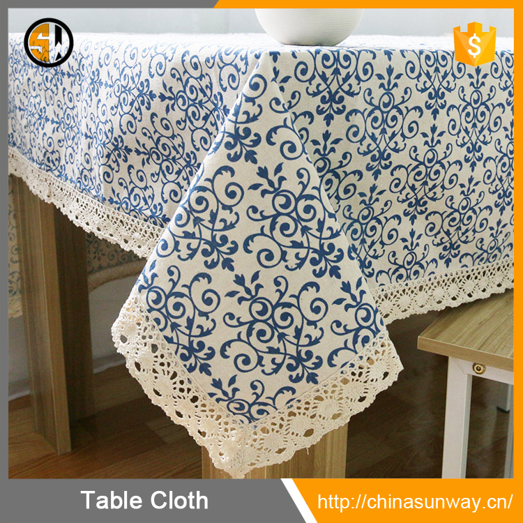 Various Sizes Chinese Pastoral Style Cotton Linen Washable Blue and White Porcelain Table Cover Home Decor Tablecloth Wholesale