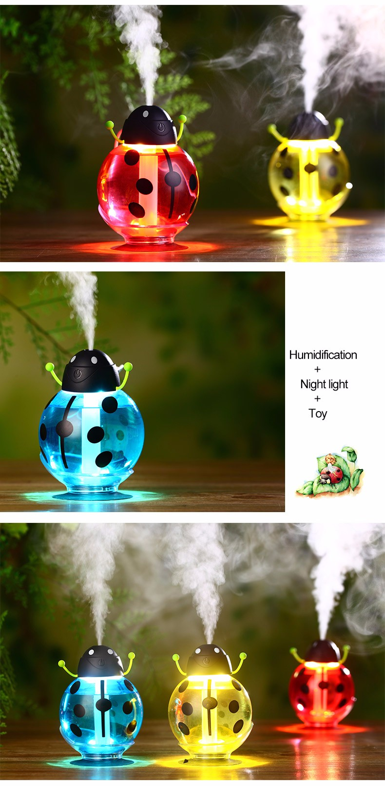 High Quality Beetles Shaped Colorful Room Air Humidifier