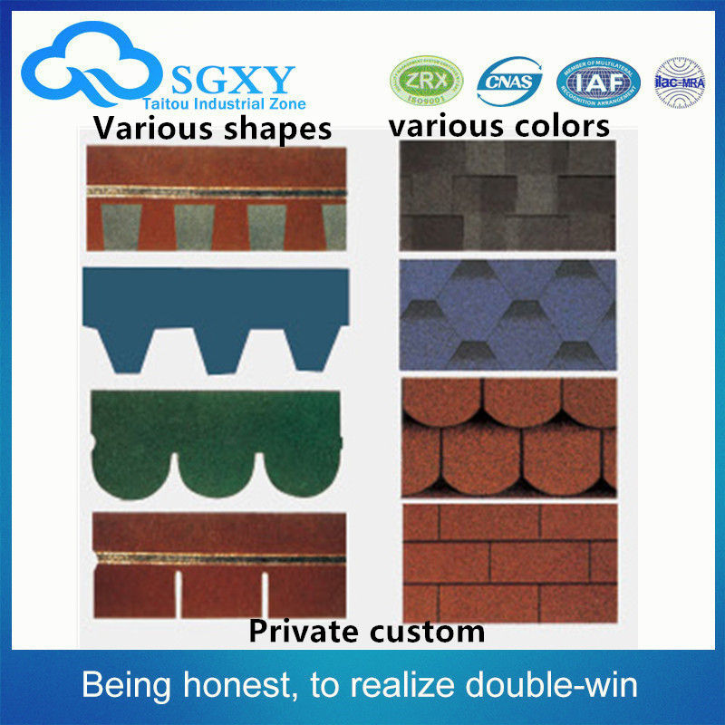 China golden factory High quality Construction materials Hexagonal Type Mosaic Bitumen Roof Colourful Asphalt shingles Shingles