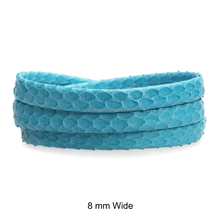 Genuine Flat Folded Snakeskin Leather Cord with Inside Stitching, Sky Blue Pure, 6 mm, 8 mm and 12 mm
