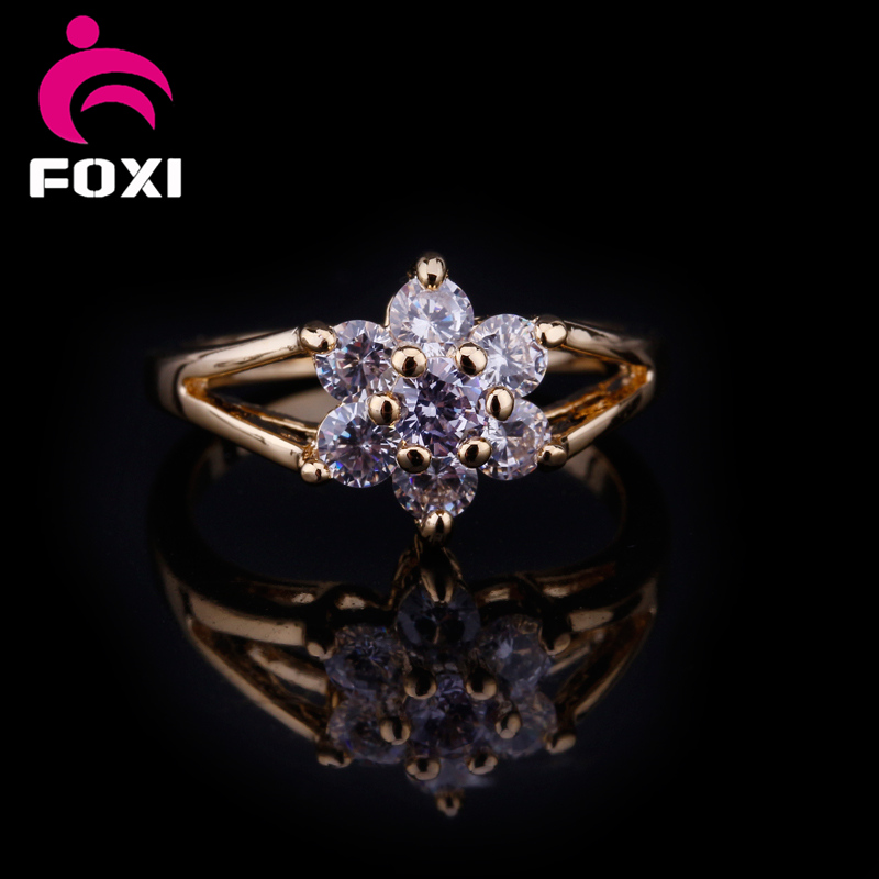 Diamond CZ Solitaire Promise Friendship Ring 6pcs stone flower rings