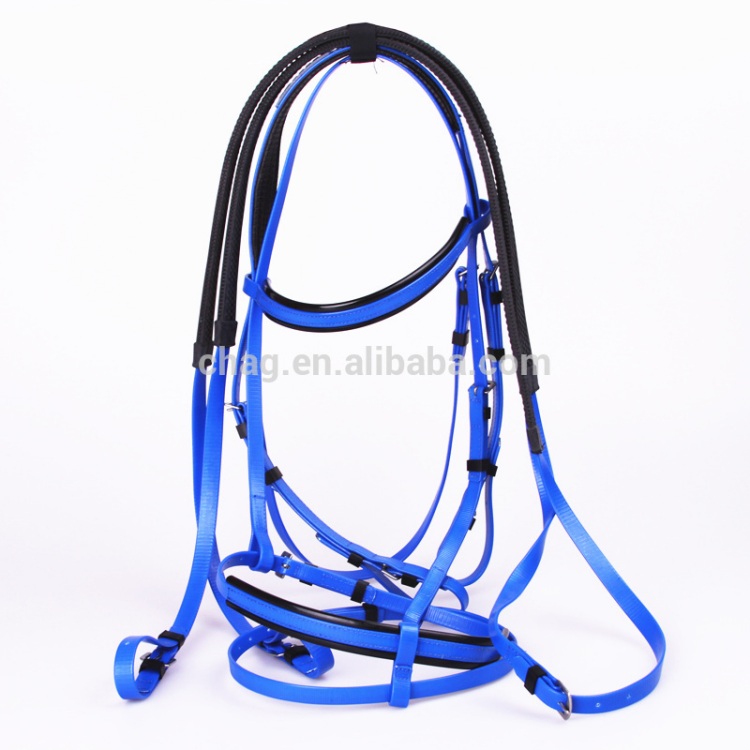 Blue Pvc Horse Bridle And Rein With Foam Padded For Equestrian Sport