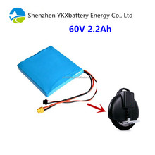 16s1p lithium ion battery pack 60v 2.2Ah one wheel scooter 60 volt lithium battery for unicycle