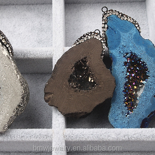Natural agate Druzy Geode Stone rock stone pendant