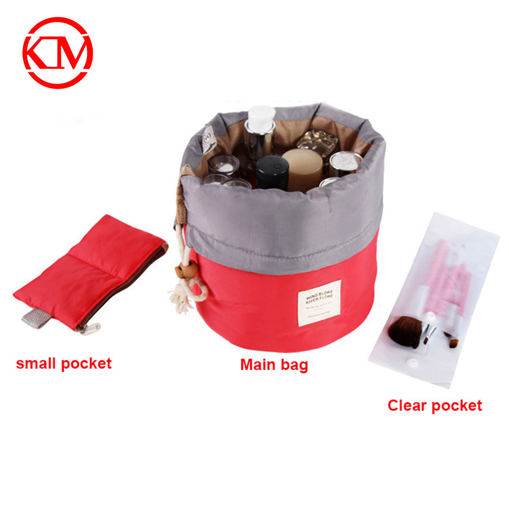 Fashion Round Shape Multifunctional cosmetic Storage bag drawstring toiletry bag