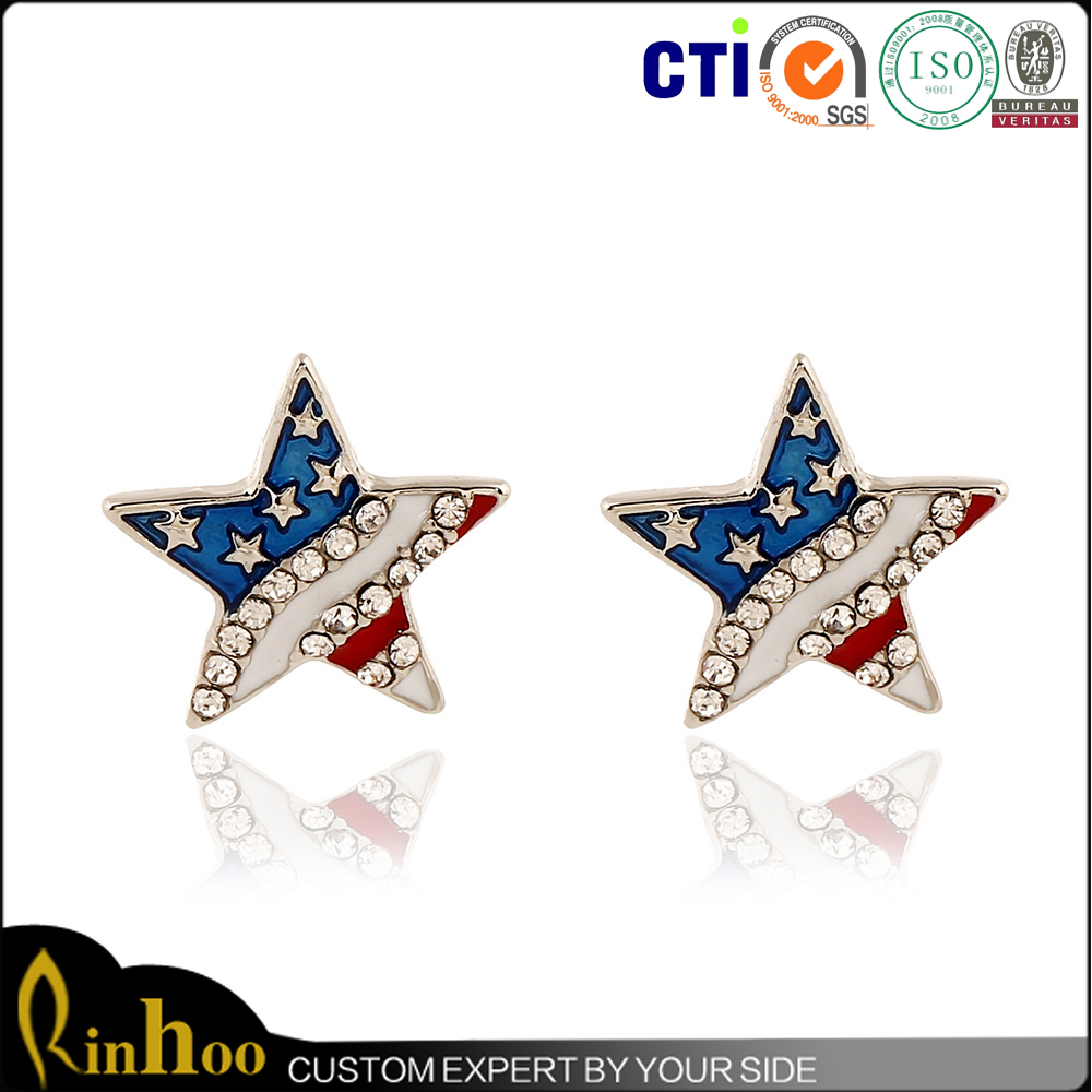 Fashion American flag Pentagram earrings Wholesale diamond stud earrings