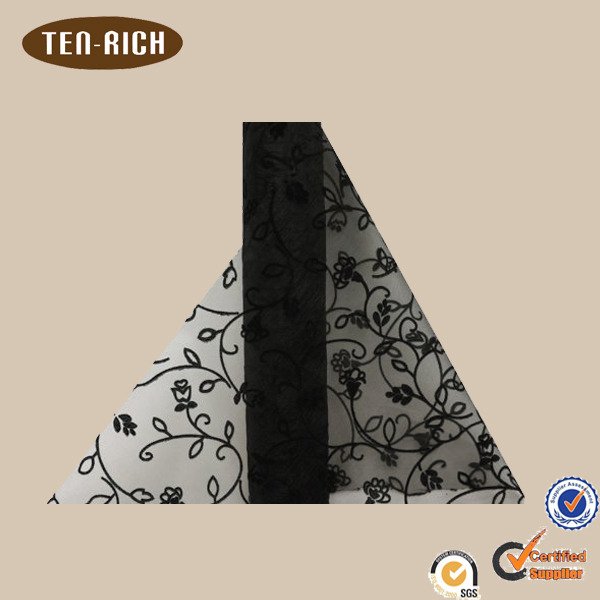 hot sale black embroidered silk organza fabric