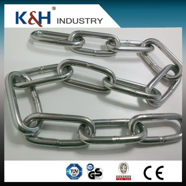 Hot selling High Quality DIN5685 2mm long link stainless steel long link chain