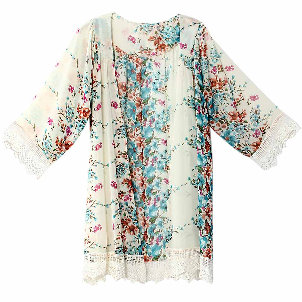 Onen Latest Long Tops Designs Girls Summer Chiffon Cardigan Women Floral Print Beach Tops Casual Party Kimono Blouse