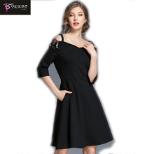 2017 New Arrival Women Mini Dress Robe Vintage Off Shoulder Black Summer Dress Autumn Retro Rockabilly Swing Party Dresses