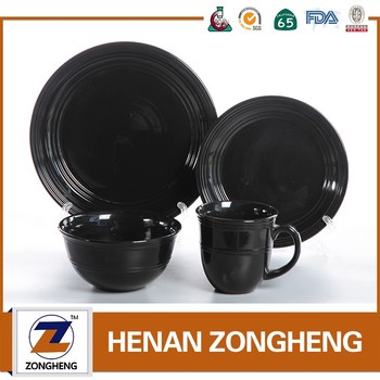 16pcs wholesale ceramic embossed black dinnerware stock lot