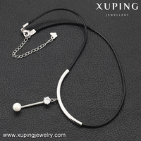 00135 XUPING simple design single pearl pendant necklace,black necklace