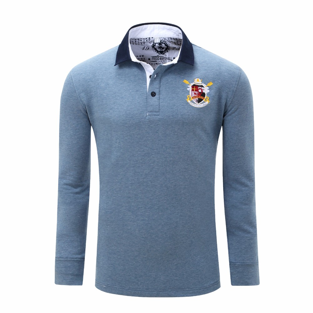 Embroidered Patch Turn Down Collar Long Sleeve Polo Shirt For Men - <strong>L</strong> DENIM BLUE 18