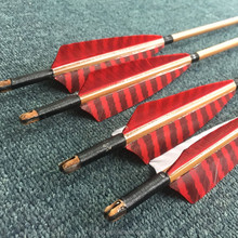 Self nock OX-horn Inserted Heat Treatment Burned Tonkin Bamboo Arrows Printed Spines 50~55#