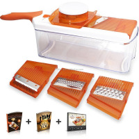 Adjustable vegetable Slicer (Orange) - Comes with 4 Interchangeable Stainless Steel Blades - Vegetable Cutter, Peeler, Slicer, G