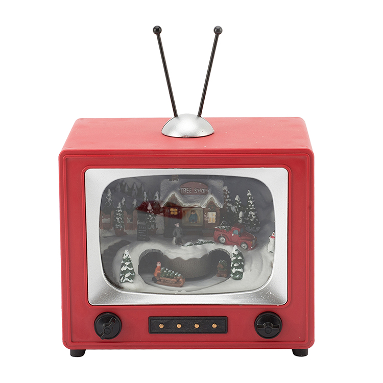Promotional Christmas Decorative Old TV Set Style Led Battery Operated Plastic Music Box