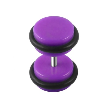 Double Round Plates Purple Acrylic Ear Tunnel Fashion Ear Plugs with Rubber Rings Jewelry