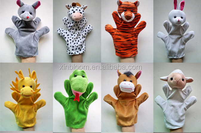 kindergarden kid's education toys 12 zodiac sign little animal 22cm height plush hand puppet 12 in 1 set doll