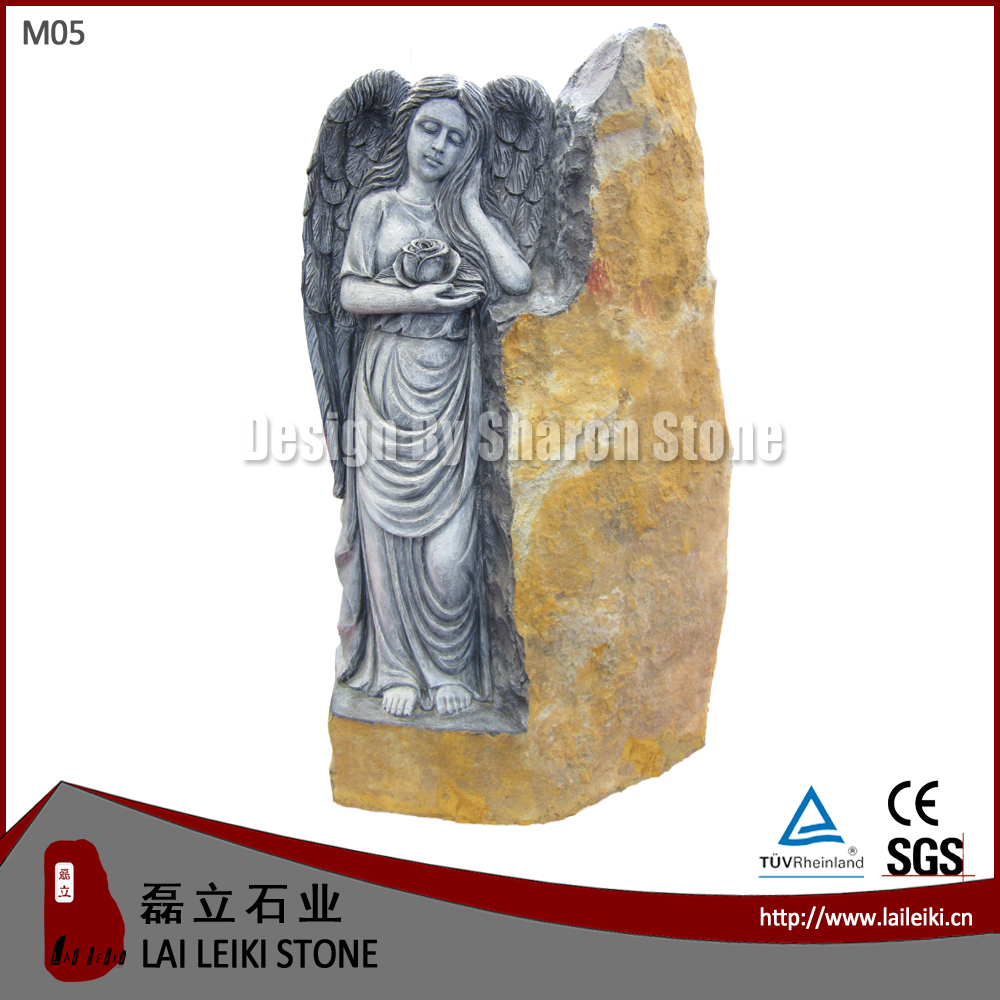 German Style Basalt Natural Stone Angel Monument Design