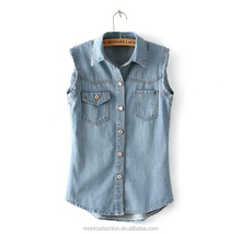 Monroo Fashion Women Washed Denim Wholesale Jean Vest