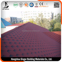 2015 Chile 3-tab Red Plain Roofing Asphalt Roofing Shingle On Hot Sale