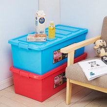 Wholesale candy color double flip lid plastic container storage box with wheels buckle storage box