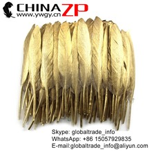 ZPDECOR Wholesale Choosed Quality Metallic Gold Painted Duck Feathers for Carnival Costumes Design