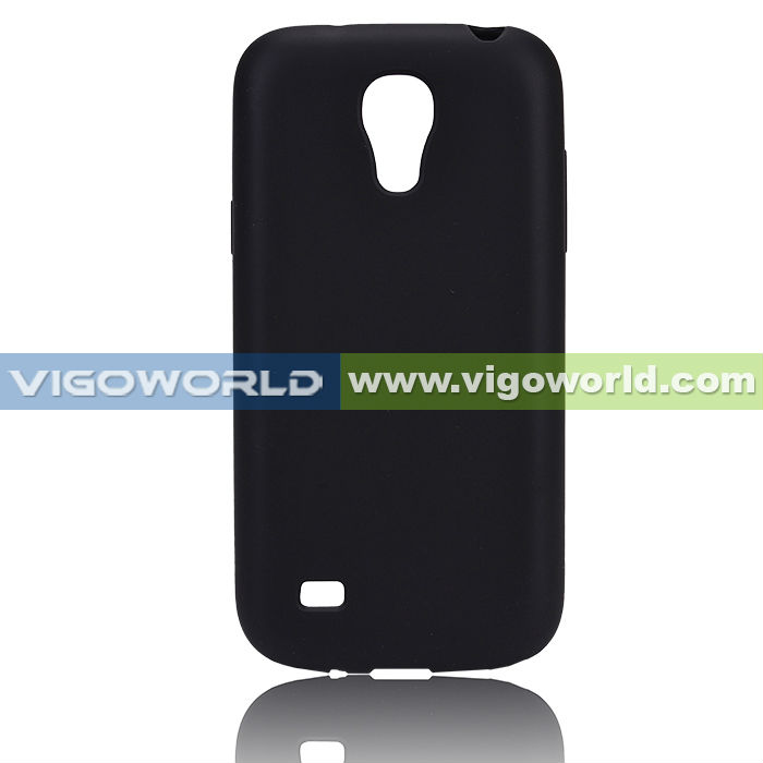 Frost Rubber Skin Soft TPU Gel Case Cover with Clear Borders for Samsung Galaxy S4 Mini Black