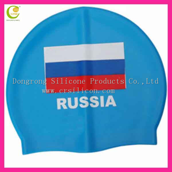 2014 Hot Sale adult funny custom design your own ear protection flower printing silicon swimming caps for long hair