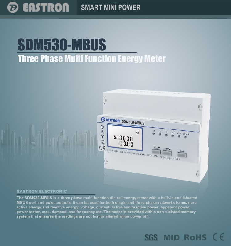 Sdm530mbus 0.5~100a M-bus Three Phase Four Wire Multi-function ...