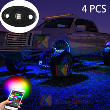RGB LED Rock Light with Bluetooth Controller Neon Lights Super Bright PODs Under Vehicle Cars Interior and Exterior Waterproof