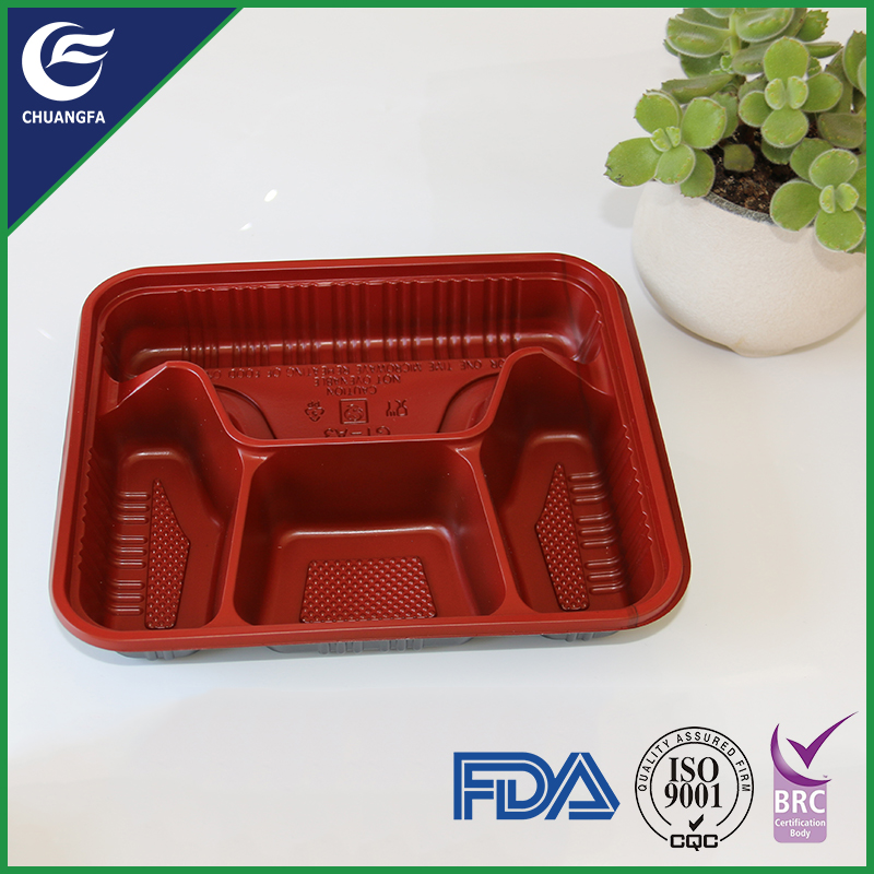 Square lunch vacuum formed serving plastic tray