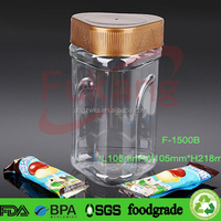 1500ml plastic dry flower tea bottle, clear special shape plastic snack jars, bpa free plastic food containers China supplier