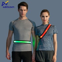 LED sports running waist belt with reflective tape usb rechargeable