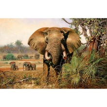 100% Handmade African Elephant Canvas Art Animal Picture