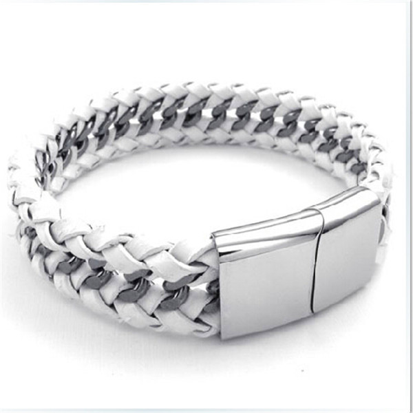 Yiwu Aceon stainless steel link chain braid with real leather metal parts for leather bracelet
