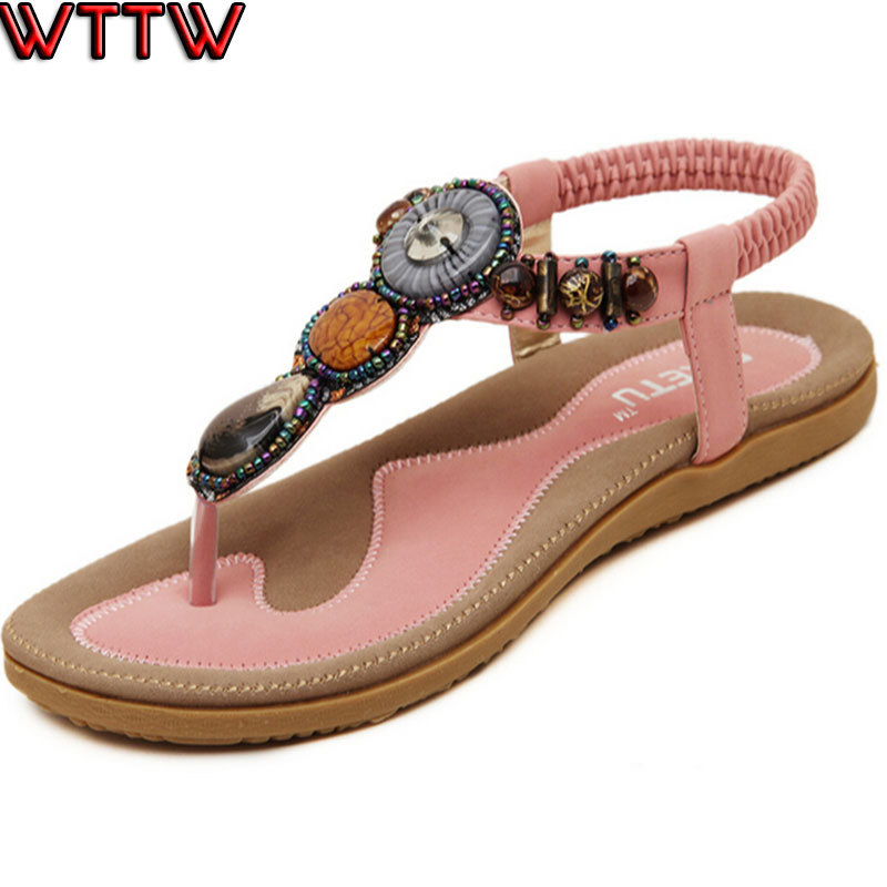 Women Sandals 2015 New Flat Fashion Summer Style Gladiator Flip Flops Women Shoes Brand Woman Causal Beach Shoes Plus Size 35-41
